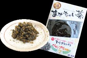 昨年の「T-1グランプリ」で栄冠を勝ち取った丸長食品(大津市尾花川)の「まぜちゃい菜」(110g360円)。☎077(524)5055
