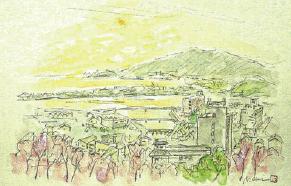 紀三井寺の記念絵葉書 中尾安希原画展