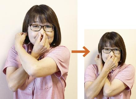 1.右手で鼻をつまみ、左手で右の耳たぶをつまみます。手の交差の前後を入れ替えて、もう一度つまみ直します。1、2、3と掛け声をかけてリズミカルに