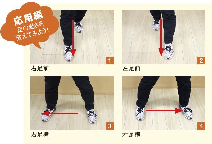 """一定のリズムで1〜4 の足の動きをしながら、""""3の倍数で黙って手をたたく""""動作を加えます。「1」「2」「パン」「4」「5」「パン」…"""