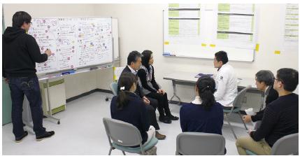 研修風景。今回は和歌山県立医科大学附属病院の医師4人が参加。本当の患者さんと向き合うように会話し、後に観察していた医師と意見交換