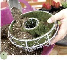 れんがなどに立てかけるだけで、かわいく演出できる円形のハンギングを使用。まずはハンギングの8分目まで、土を入れます。※水ごけに植える方法もあります