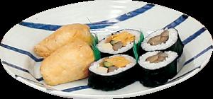 はたごんぼを使った巻き、卵巻き、 いなりが入った寿司セット(500 円 ※木~日曜だけ
