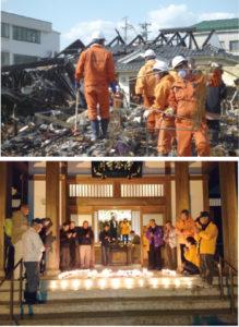 (上)2011年4月、宮城県気仙沼市での捜索活動(下)毎年、訪れている気仙沼市の浄念寺。今年も交流会が行われました