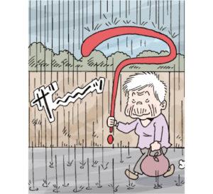 の日。おばあちゃんが、傘と間違えてさしていたものは?