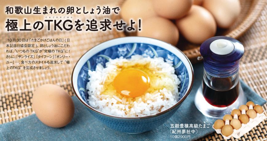 和歌山生まれの卵としょう油で<br/>極上のTKGを追求せよ!