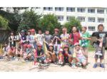 福島小学校4年1組が製作&打ち上げにチャレンジ 自作の水ロケット40発に大歓声